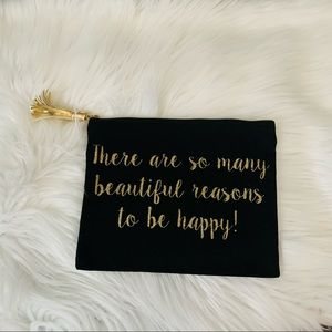 NWT Be Happy Black Tassel Makeup Pouch